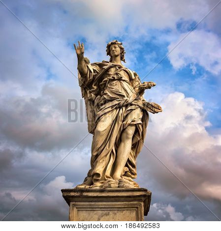 Angel with the Nails on Aelian Bridge in Rome Italy