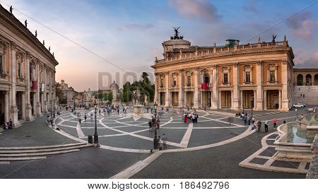 Panorama of Capitoline Hill and Piazza del Campidoglio in the Evening Rome Italy