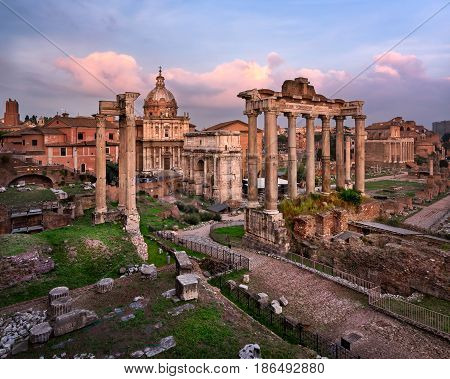 Roman Forum (Foro Romano) in the Evening Rome Italy