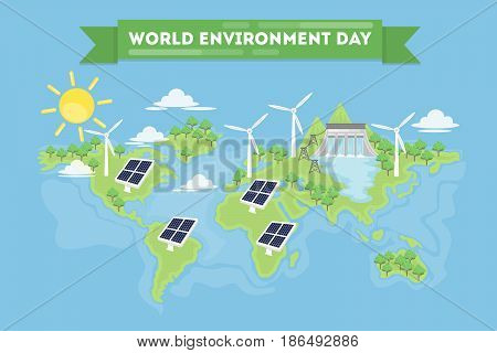 World environment day concept illustration. Planet Earth with renewable energy.