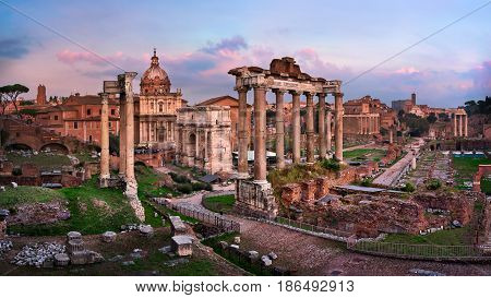 Panorama of Roman Forum (Foro Romano) at Sunset Rome Italy