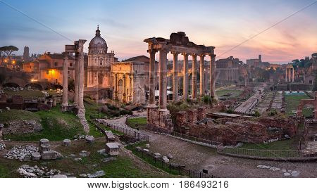 Panorama of Roman Forum (Foro Romano) in the Morning Rome Italy