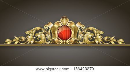 Classic gold ornament. Architectural element sandrik for a building arches windows or doors in the Baroque style. Vector graphics. Element of the cover. Classic details.