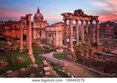 Roman Forum (Foro Romano) in the Morning Rome Italy