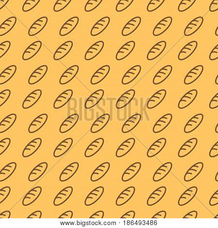 Bakery seamless pattern consisting of loaf brawn color line style on yellow background for bread house, cafe, cupcake firm, loaf store, coffee shop, food market. Vector Illustration