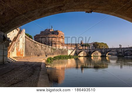 Hadrian Mausoleum and Tiber River Embankment Rome Italy
