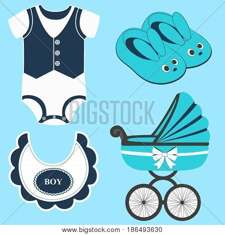 Icon set baby bib bodysuit slippers for a boy and baby carriage. Vector illustration.