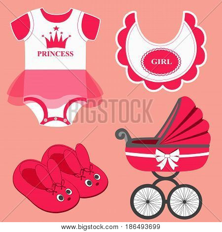 Icon set baby bib bodysuit slippers for a girl and baby carriage. Vector illustration.