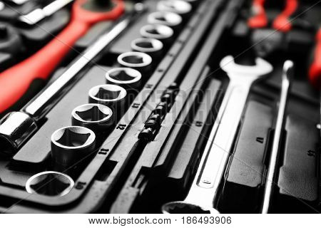 Set of tools for car repair in box, closeup