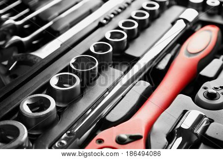 Box with set of tools for car repair, closeup
