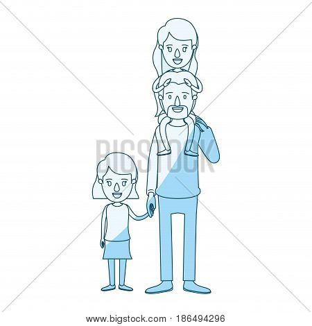 blue silhouette shading caricature dad with daugther on his back and girl taken hands vector illustration