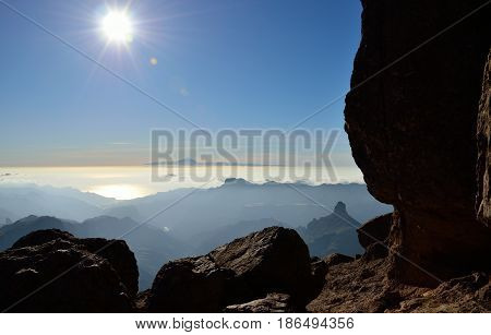 Intense sunset from the mountain, Gran canaria, Canary islands