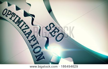 SEO Optimization Metal Cog Gears - Communication Concept. with Glow Effect and Lens Flare . SEO Optimization - Illustration with Glow Effect . 3D Render .