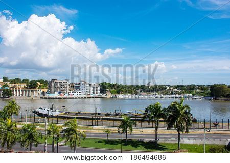 Beautiful Landscape Of The Pond And Palm Trees In Santo Domingo, Dominican Republic