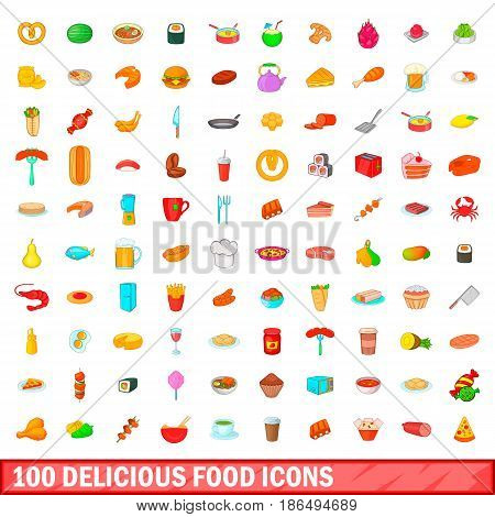 100 delicious food icons set in cartoon style for any design vector illustration
