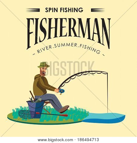 Flat fisherman hat sits on shore with fishing rod in hand and catches bucket and net, Fishman crocheted spin into the water and waiting big fish funny vector illustration, Man active banner concept.