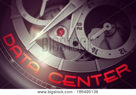 Elegant Wristwatch with Data Center on Face, Symbol of Time. Luxury Men Pocket Watch Machinery Macro Detail with Inscription Data Center. Time Concept with Glowing Light Effect. 3D Rendering.