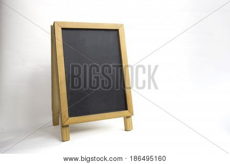 wood black board isolated on white background with clipping path