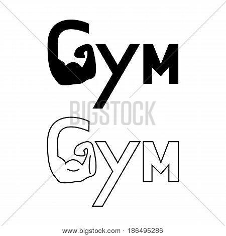 Hand of Gym set logo. Brawny arm isolated. Flat style. Logo. Sports emblem, icon, Badge, Fitness Logo Design