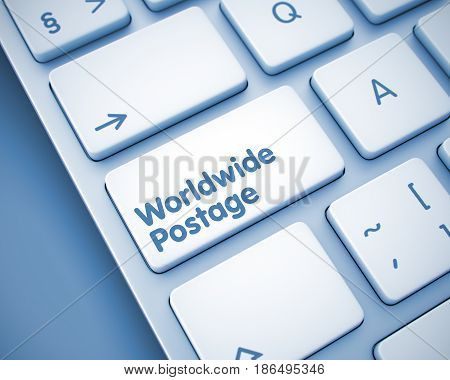 Service Concept: Worldwide Postage on the Slim Aluminum Keyboard Background. Inscription on the Keyboard Enter Key, for Worldwide Postage Concept. 3D Illustration.