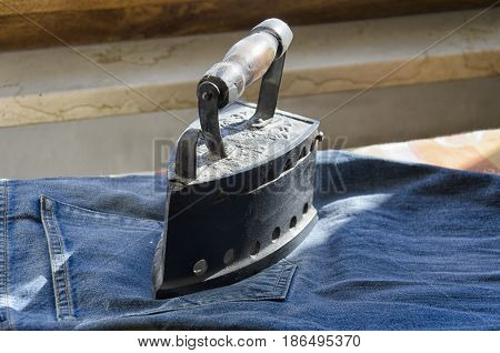 View of a clothes iron of the 1800s