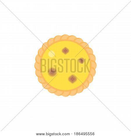 Dim sum dessert, egg tart in top view, flat design icon