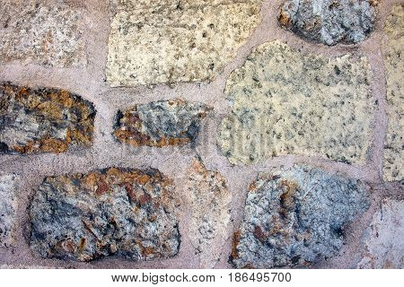 Stone Of White And Brown Color Paving Stones Background