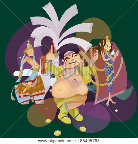 Set of isolated hindu gods meditation in yoga poses lotus and Goddess hinduism religion, traditional asian culture spiritual mythology, deity worship festival vector illustrations, T-shirt concepts.