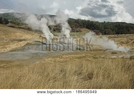 View of the smoke of geothermal energy