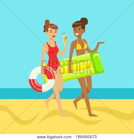 Two young women walking on the beach holding lifebuoy and floating mattress, colorful vector Illustration