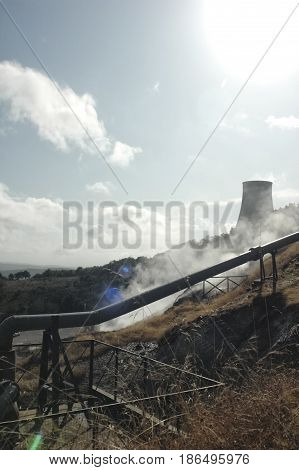 View of a geothermal energy power plant