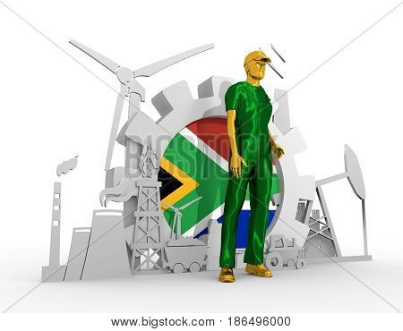 Young man wearing apron. Bearded worker at industrial isometric icons set with South Africa flag. 3D rendering. Metallic material. Energy generation and heavy industry.