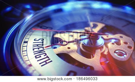 Strength. on Pocket Watch Face with Close View of Watch Mechanism. Time Concept. Vintage Effect. Pocket Watch Face with Strength Phrase on it. Business Concept with Film Effect. 3D render.
