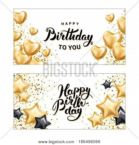 Happy birthday star heart balloon. heart gold star balloon on background. Frosted party balloons for event design. Balloons isolated on banner. Party decorations for birthday, anniversary, celebration