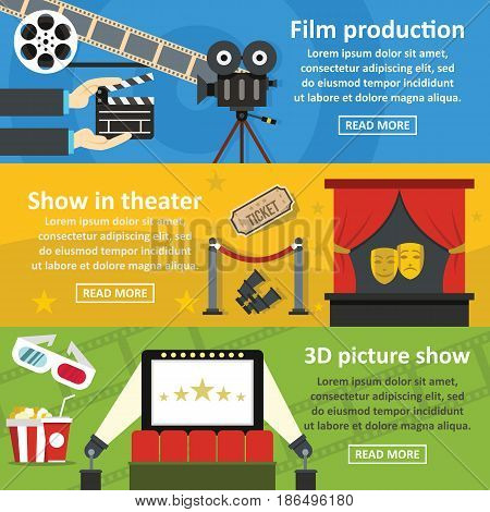 Film production banner horizontal concept set. Flat illustration of 3 film production vector banner horizontal concepts for web
