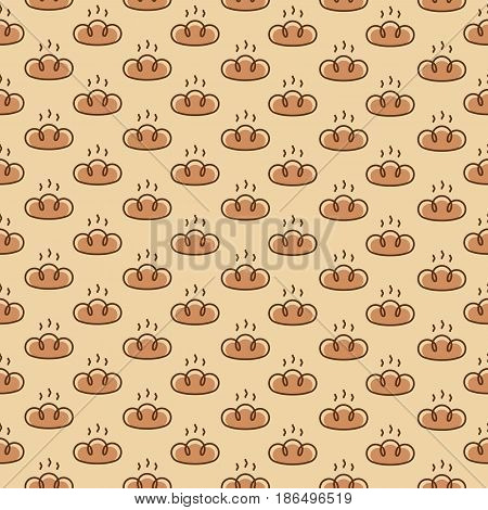 Bakery seamless pattern consisting of bread color line style on yellow background for loaf store, bread house, cafe, cupcake firm, coffee shop, food market. Vector Illustration