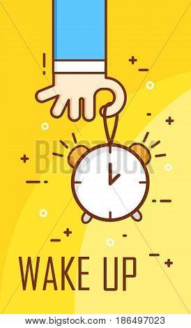 Thin line flat design. Hand holding alarm clock. Wake up banner. Vector.