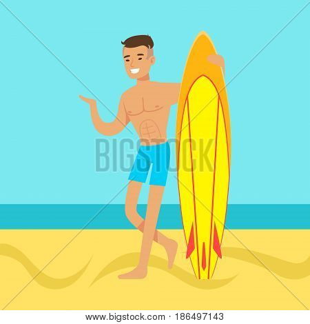 Young man walking on the beach with surfboard colorful vector Illustration