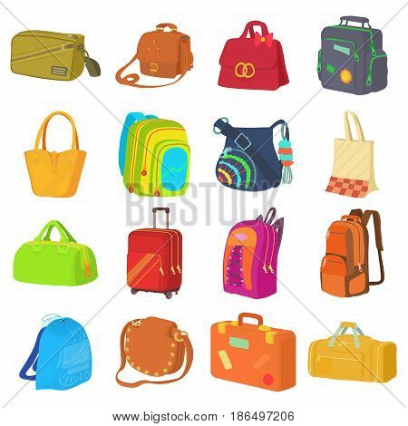 Bag types icons set. Flat illustration of 16 bag types vector icons for web