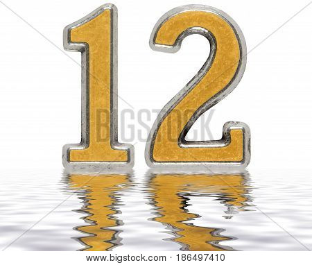 Numeral 12, Twelve, Reflected On The Water Surface, Isolated On White, 3D Render