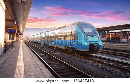 Beautiful View With Modern High Speed Train