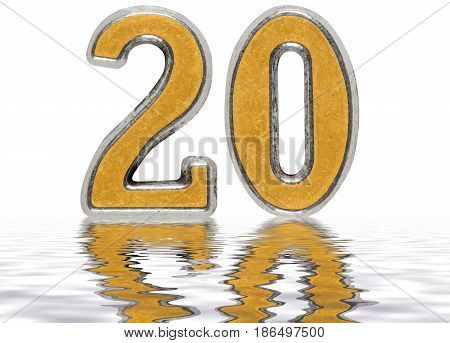 Numeral 20, Twenty, Reflected On The Water Surface, Isolated On White, 3D Render