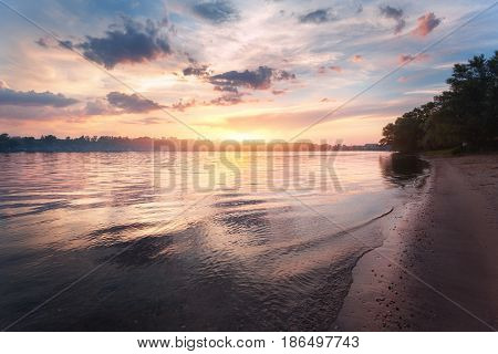 Colorful Sunset At The River. Summer Landscape