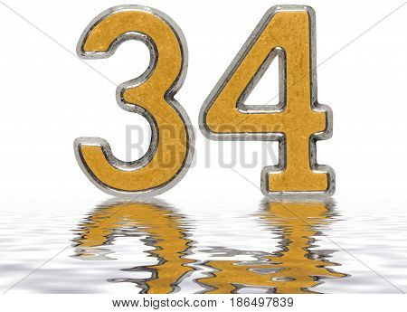 Numeral 34, Thirty Four, Reflected On The Water Surface, Isolated On White, 3D Render