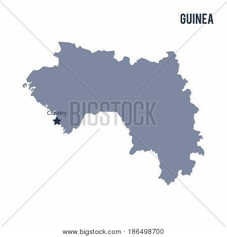 Vector map of Guinea isolated on white background. Travel Vector Illustration.
