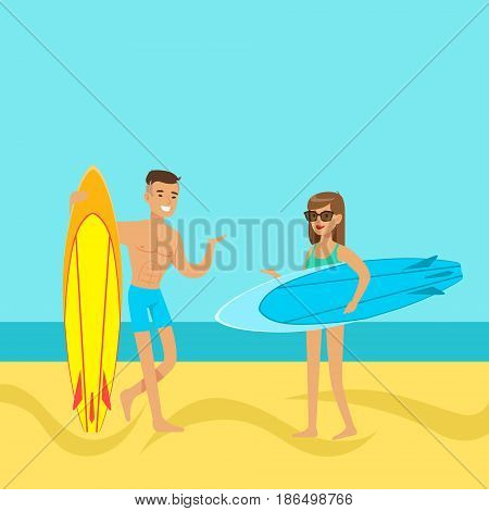 Young couple walking on the beach with surfboards colorful vector Illustration