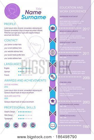 Creative vector violet minimalist cv template for ladies