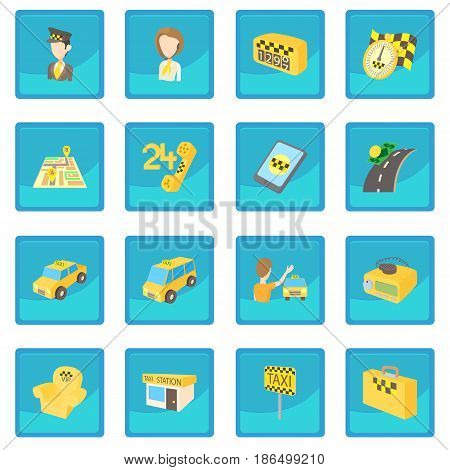 Taxi icon blue app for any design vector illustration