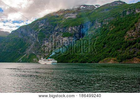 Passenger Cruise Ship, On Geiranger fjord, Norway
