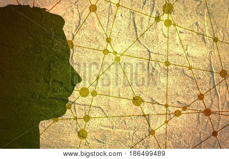 Profile of the head of a man. Mental health relative brochure or report design template. Scientific medical designs. Molecule And Communication Concrete Textured Background. Connected lines with dots.